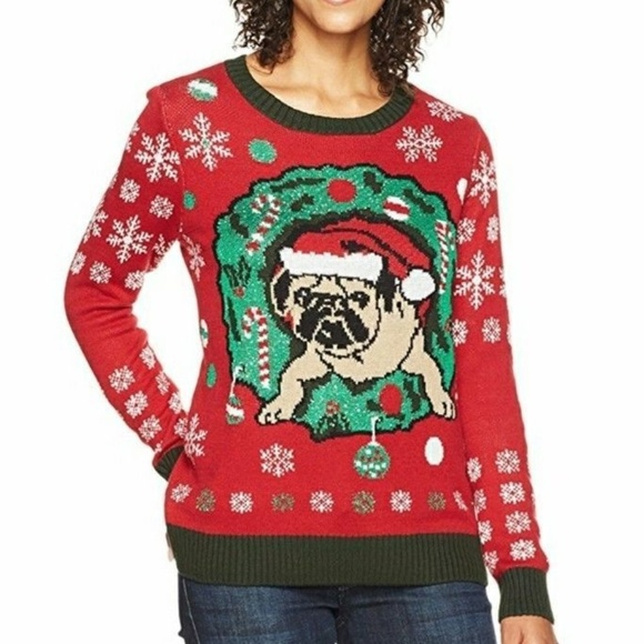 Womens Ugly Christmas Sweater Dress.Womens Ugly Christmas Sweater Pug In Wreath New Nwt